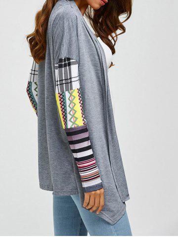 Shops Printed Spliced Sleeve Asymmetric Cardigan
