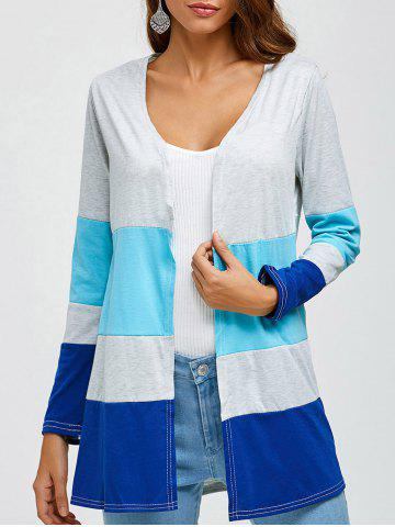 Color Block Preppy Style Cardigan - LIGHT GRAY L
