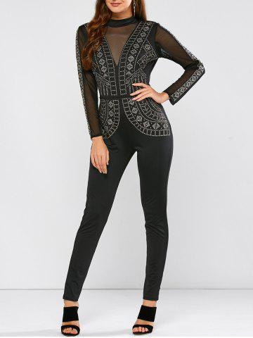Rhinestone Embellished Sheer Mesh Jumpsuit - Black - S