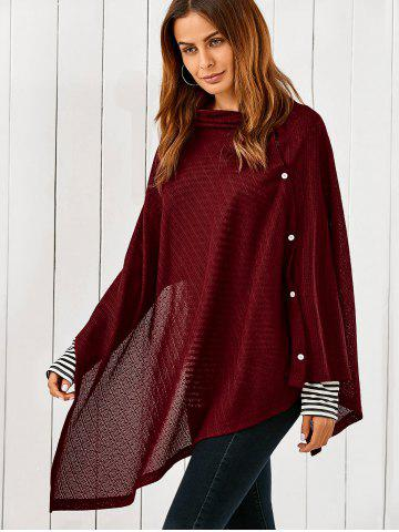 Outfit Side Button Asymmetrical Cape Blouse