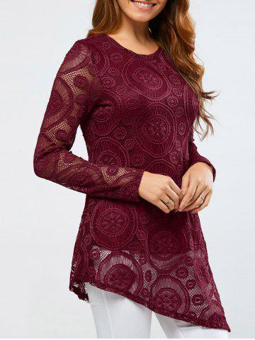 Outfits Openwork Sleeve Lace Asymmetrical Blouse