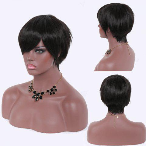 Outfits Spiffy Ultrashort Natural Black Capless Heat Resistant Fiber Straight Side Bang Women's Wig BLACK