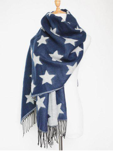 Discount Chic Winter Star Pattern Tassel Long Wrap Scarf PURPLISH BLUE