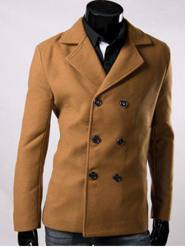 Double Breasted Lapel Collar Wool Blend Coat - Brown - 3xl