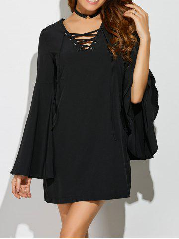 Cheap Bell Sleeve Lace Up Mini Dress