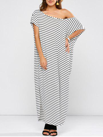 Hot One Shoulder Stripe Slit Maxi T-shirt Dress