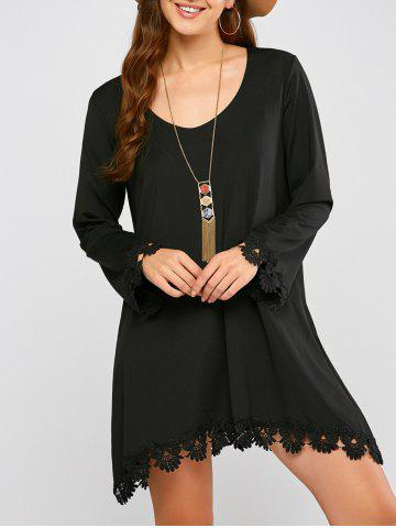 Long Sleeve Crochet Trim Mini Dress
