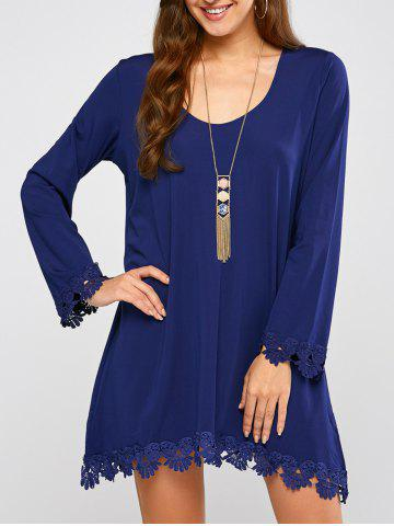 Long Sleeve Crochet Trim Mini Dress - Blue - M