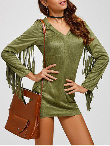 Suede Plunge Long Sleeve Dress with Fringe - Army Green - S