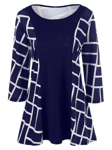Best Plus Size Geometric Smock Blouse DEEP BLUE 3XL