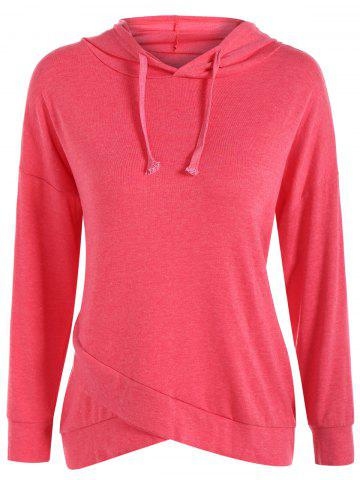 Fancy String Asymmetric Hoodie RED XL