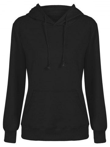 Slim Fit Front Pocket Hoodie - Black - S