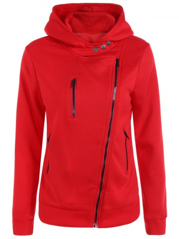 Outfits Pocket Oblique Zipper Hoodie RED XL
