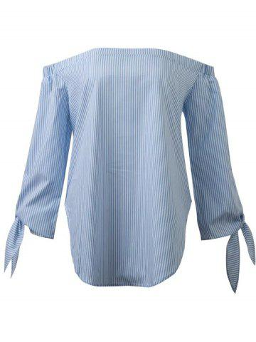 Trendy Off The Shoulder Long Sleeve Striped Slit Blouse LIGHT BLUE L