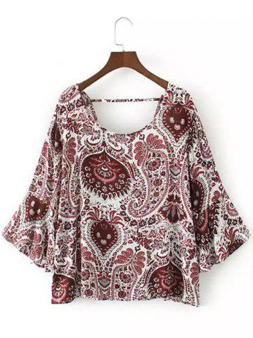 Shops Flare Sleeve Tribal Print Boho Blouse RED M