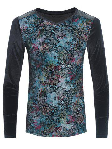 Hot Grid and PU-Leather Spliced Flower Print Long Sleeve T-Shirt BLACK 3XL