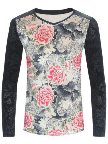 Store PU-Leather Spliced Velvet Flowers Print Long Sleeve T-Shirt