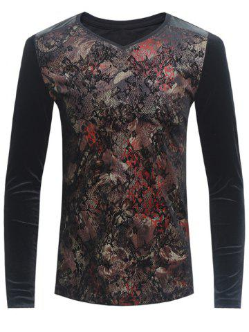 Grid and PU-Leather Spliced Florals Print Long Sleeve T-Shirt - Black - L