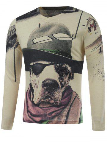Fashion Plus Size Long Sleeve Dog in the Hat Print T-Shirt