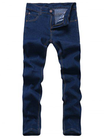 Latest Solid Color Zipper Fly Straight Leg Jeans For Men BLUE 36