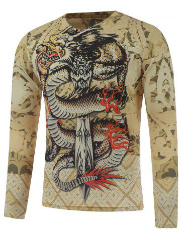 Best Plus Size Long Sleeve Dragon and Sword Print T-Shirt