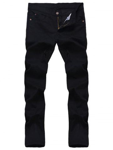 Outfit Solid Color Zipper Fly Straight Leg Jeans For Men - 32 BLACK Mobile
