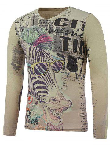 Outfits Plus Size Long Sleeve Zebra Print T-Shirt COLORMIX 3XL