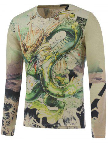 Online Plus Size Long Sleeve Dragon in the Sky Print T-Shirt COLORMIX 5XL