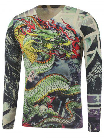 Online Plus Size Long Sleeve Dragon and Geometric Print T-Shirt COLORMIX 5XL