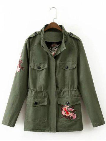 Chic Drawstring Floral Embroidered Field Jacket