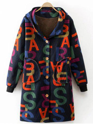 Sale Printed Hooded Quilted Coat PURPLISH BLUE L