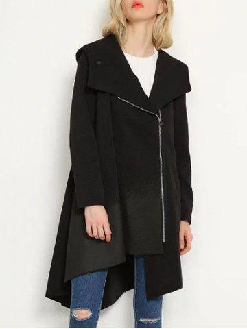 Fashion Hooded Oblique Zipper Asymmetric Long Trench Coat