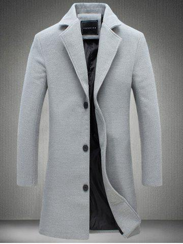 Plus Size Single Breasted Longline Woolen Coat - Gray - 4xl