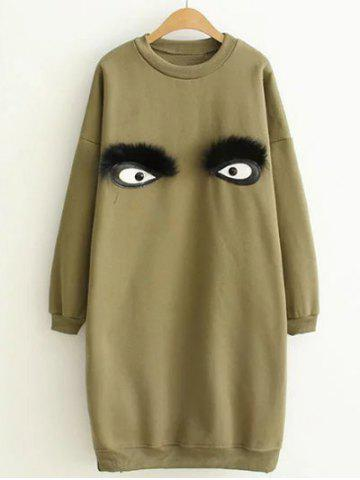 Cheap Drop Shoulder Cartoon Eye Mini Sweatshirt Dress