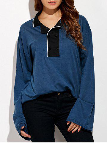 Outfits Double-Breasted Loose-Fitting T-Shirt DEEP BLUE ONE SIZE
