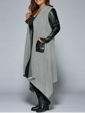 Plus Size PU Patchwork Long Asymmetrical Coat - Black And Grey - 3xl