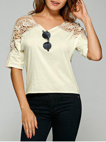Hot Crochet Lace Insert Openwork T-Shirt