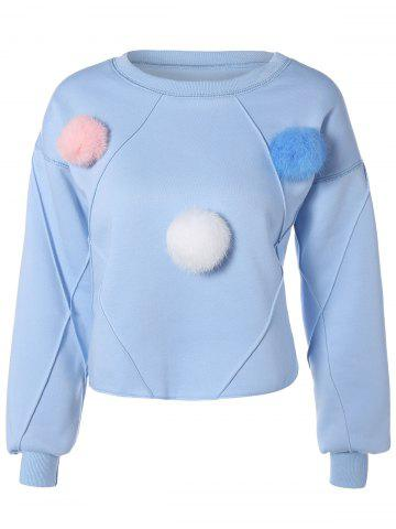 Sale Pompon Embellished Flocking Sweatshirt