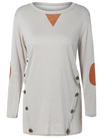 Shop Button Longline T-Shirt with Elbow Patch LIGHT GRAY 2XL