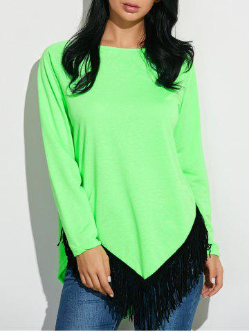 Outfit Tassel Inverted Triangle Hem Tunic T-Shirt NEON GREEN XL