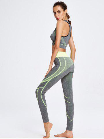 Discount Sport Striped Crop Tank Top+Pants - ONE SIZE YELLOW Mobile