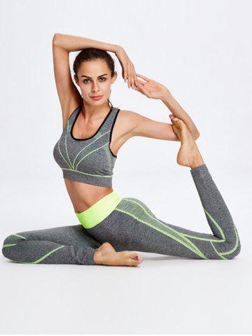 Buy Sport Striped Crop Tank Top+Pants - ONE SIZE YELLOW Mobile