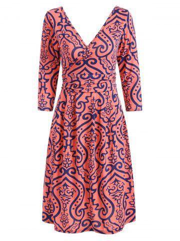Outfit Surplice High Waist Printed Dress