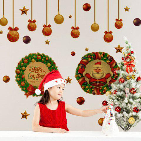 New Festival Christmas Wreath Removable Glass Window Wall Stickers RED/GREEN