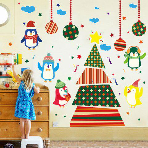 Hot Colorful Penguins Christmas Removable Children's Room Wall Stickers COLORFUL