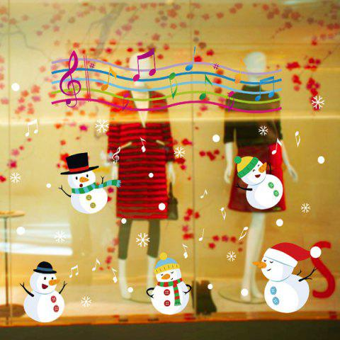 Cheap Christmas Music Snowmans Removable Glass Window Wall Stickers COLORFUL
