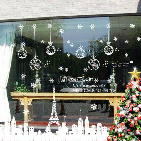 Affordable Christmas Town Removable Glass Window Wall Stickers WHITE