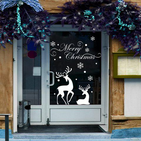 Fancy Christmas Reindeer Removable Glass Window Vinyl Wall Stickers WHITE