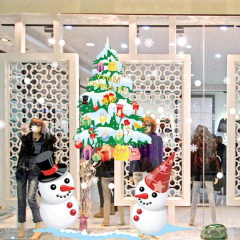 Trendy Christmas Snowmans and Multicolor Tree Removable Glass Window Wall Stickers COLORFUL