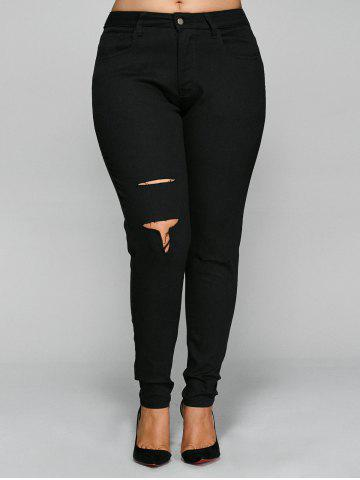 New Skinny Plus Size Ripped Pencil Pants BLACK 5XL